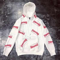 THRASHER autumn and winter models couple models full printed letters loose hooded sweater white