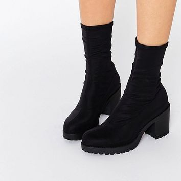 Vagabond Grace Black Chunky Sock Boots at asos.com