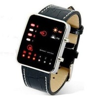 HDE Men's Binary Code Digital Display LED Watch with Faux Croc Leather Band
