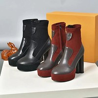 New Arrival LV Louis Vuitton Women's Leather BLACK RED BOOTS HEELS SHOES WARM WINTER 2020 -   FROM men jersep