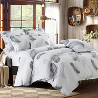 100%Cotton Satin Fabric Luxury 5 star Hotel Bedding set Include Duvet cover Flat sheet Pillowcase Feather white Hotel series