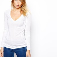 ASOS Top with Long Sleeves and V Neck - White