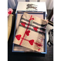 BURBERRY Fashion Couple Red Heart Cashmere Cape Tassel Scarf Scarves Shawl Accessories