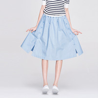 Buttoned A-Line Pleated Mid Skirt with Slit