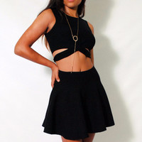 (amh) Side's straps knit black cropped top