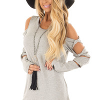 Heather Grey Cold Shoulder Top with Twisted Ladder Sleeves