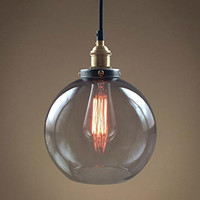 Smoke Glass Big Pendant Hanging Lamp Vintage Copper Socket Globe Ceiling Pendant Lamp