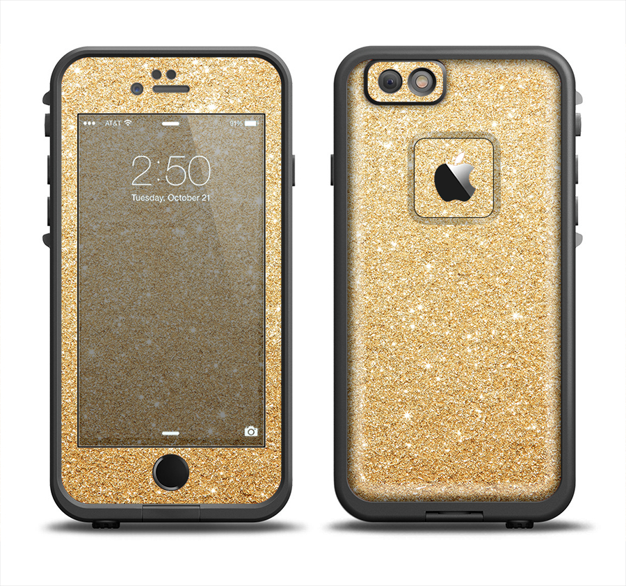Image of The Gold Glitter Ultra Metallic Skin Set for the Apple iPhone 6 LifeProof Fre Case
