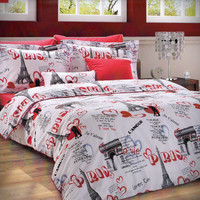 NEW DESIGN Custom Twin Size Paris Theme Printed on White Backround Ranforce Bedding Set with Red Sheet and Pillowcases