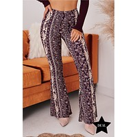 Not To Worry Floral/Striped Flare Pants (Wine Multi)