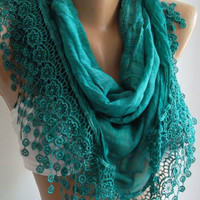 Turquoise - Elegance  Shawl / Scarf with Lacy Edge------soft and light