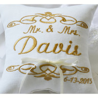Gold Embroidered Wedding ring pillow , wedding pillow ,ring bearer pillow , personalized ring pillow, ring bearer pillow ,  Custom pillow