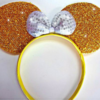 MINNIE MOUSE EARS Headband Gold Sparkle Shimmer white Sequin Bow Mickey bling