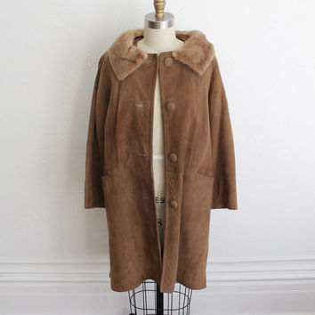 Vintage 60s Brown Suede Coat with Small Fox Collar // Women's Fur Collar Jacket