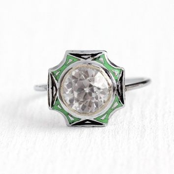 Created White Sapphire Ring - Vintage Art Deco 10k White Gold & Green Black Enamel - 1930s Size 6 Fine Pin Conversion 2.35 ct Gem Jewelry