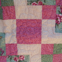 Handmade Twin Size Quilt, Pinks and Greens, Patchwork, Home and Living, Quilts and Blankets