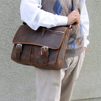"""16"""" Cowhide Leather Messenger Bag LM10. Light Coffee"""