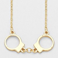 Handcuffs Gold-Plated Pendant Necklace