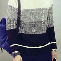 Long Sleeve High Neck Colorblocked Knit Sweater For Man