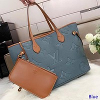 Inseva LV Louis Vuitton New fashion monogram leather handbag shoulder bag women two piece suit bag Blue
