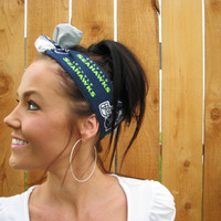 Seattle Seahawks Dolly Bow Reversible Pin Up Rockabilly Dolly Bow Twist Tie Up Hawks Headband Headscarf Hair Band Head Wrap Accessories