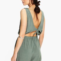 Helen Tie Back Relaxed Fit Playsuit | Boohoo