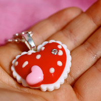 Large Red Heart Spotty Pendant - Candy, Kawaii, Kitsch, Fairy Kei, Princess, Valentines Day