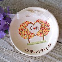 Union of Family Tree Custom Ring Bearer Bowl, Wedding Ring Pillow Alternative, Ring Holder, Ring Dish