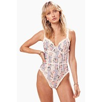 Charleston Ruffle Corset One Piece Swimsuit - Robin Blue Floral Print