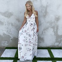 Sweet Bliss Mauve Floral & Lace Maxi Dress