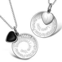 My Heart Belongs to You Forever Inspirational Heart Couples Set Simulated Onyx White Cats Eye Necklaces
