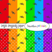 Dragonfly Digital Paper Pack – bright rainbow backgrounds for scrapbooking, decoupage, web design, etc - tileable – instant download – CU OK