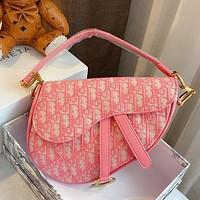 Dior embroidered D letter logo pink female shoulder bag crossbody bag