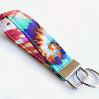 Tie Dye Key Fob / Colorful Keychain / 60s / Wrist Lanyard / Wristlet / Keychain Lanyard / Tie Dye Accessories / Back to School / Key Chain