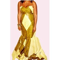 Baylor Green And Beige Abstract Floor Length Dress