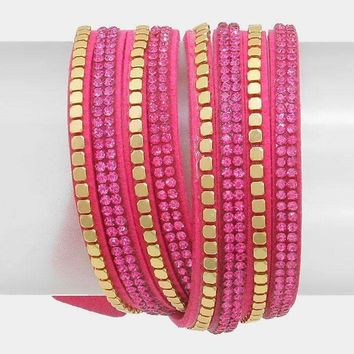Crystal Metal Studded Faux Suede Band Wrap Bracelet