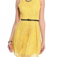 Belted Lace Flared Mini Dress in Yellow