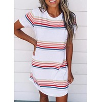 2020 new women's color striped round neck dress