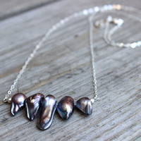 Pearl Drop Necklace on Sterling Silver Chain with Freshwater Pearls Gray Pearl Necklace Silver Necklace
