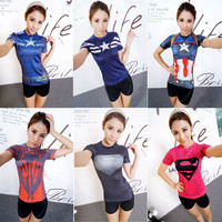 Captain America Superman hero tights female sports short-sleeved T-shirt Quick-drying breathable running  Workout clothes