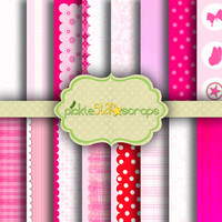 Little Princess - 16 Digital Scrapbook Papers - 12x12inch - Printable Pink and White Backgrounds -  INSTANT DOWNLOAD
