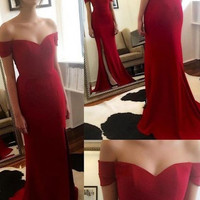 Off The Shoulder Satin Prom Dresses