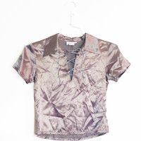 90s Satin Lace Up Crop Top