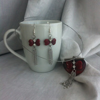 Red Heart St Valentine's Day Leather Pendant Necklace with Earrings