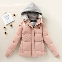 Hooded Long-Sleeve Zipper Pocket Parka Coat