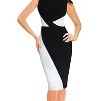Senfloco Women's Elegant Colorblock Wear To Work Business Party Pencil Dress