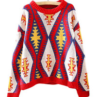 Red Geometrical Patterns Print Knit Sweater