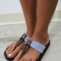 Into The Sunset Nautical Blue & White Thong Flip Flops