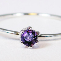 Tiny Amethyst Stacking Ring - Sterling Silver