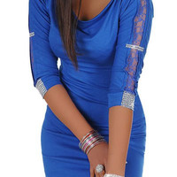 Blue Rhinestoned Half Sleeve Mini Dress